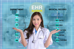 Female doctor and EHR screen. Stock Image