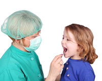 Female doctor examines the throat Royalty Free Stock Images