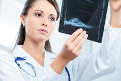 Female doctor examing an x-ray Royalty Free Stock Photos