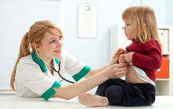 Female doctor examining  little girl Royalty Free Stock Photos