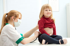 Female doctor examining  little girl Royalty Free Stock Photography