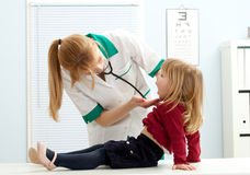 Female doctor examining  little girl mouth Royalty Free Stock Images