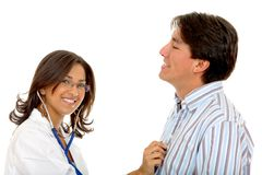 Female doctor examining a patient Stock Photo