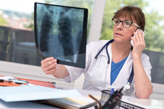 Female doctor examining x-ray report. In medical office royalty free stock photo