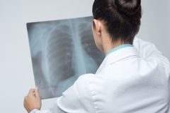 Female doctor examining x-ray image Stock Image