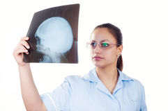 Female doctor examining x-ray image of the patients skul Royalty Free Stock Images