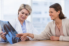 Female doctor explaining x-ray report to patient Royalty Free Stock Image