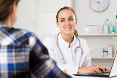 Female doctor and female patient Stock Images