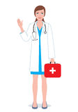 Female doctor with first-aid kit. Illustration of a smiling doctor woman Royalty Free Stock Photo