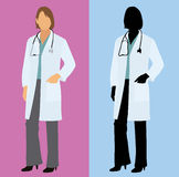 Female Doctor in Full Color and Silhouette Royalty Free Stock Photos