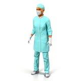 Female doctor full length portrait on white 3D Illustration Stock Photography