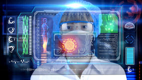 Female Doctor with futuristic hud screen tablet.  Bacteria, virus, microbe. Medical concept of the future Royalty Free Stock Photo