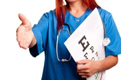 Female doctor giving hand Stock Photo
