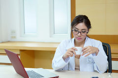 Female doctor had a very exhausting day at work Stock Photo
