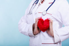 Female doctor with heart. Love from working and helping people. Part body female doctor in white medical apron with heart on blue. Enjoy work concept royalty free stock photos