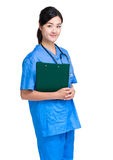 Female doctor hold clipboard Royalty Free Stock Photos