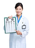 Female doctor hold eye chart Royalty Free Stock Photography