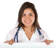 Female doctor holding ad Royalty Free Stock Image