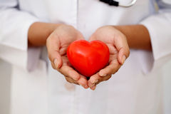 Female doctor holding a beautiful red heart shape Royalty Free Stock Images