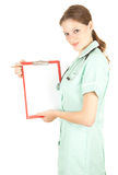 Female doctor holding blank clipboard Stock Images
