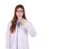 Female doctor holding a bottle of urine sample. Isolated on white background Royalty Free Stock Images