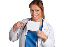 Female Doctor Holding Card Royalty Free Stock Photos