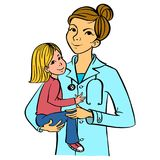 Pediatrician with a kid. Female doctor holding a child. Pediatrician with a patient. Health worker interacting with a child. Editable vector graphics Stock Images