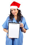 Female doctor holding the clipboard Royalty Free Stock Image