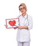 Female doctor holding clipboard Royalty Free Stock Images