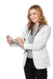 Female doctor holding a clipboard - isolated Stock Photo
