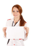 Female doctor holding an empty card Stock Photos