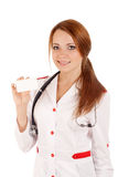 Female doctor holding an empty card Stock Photo