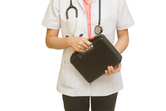 Female Doctor Holding First Aid Box Stock Image