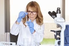 Scientific woman working with testing substances Royalty Free Stock Photography