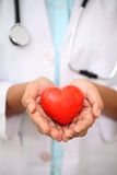 Female doctor holding a heart shape. Female doctor holding a beautiful red heart shape royalty free stock images