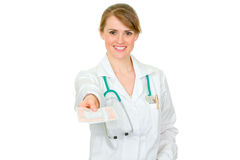 Female doctor holding medical prescription Royalty Free Stock Photography