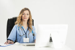 Female doctor holding medical records Stock Images