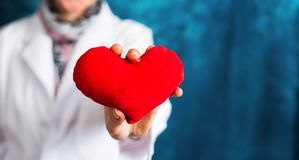 Female doctor holding a red heart. Close up stock photo