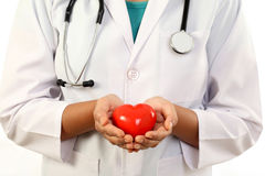Female doctor holding a red heart shape. Female doctor holding a beautiful red heart shape royalty free stock image