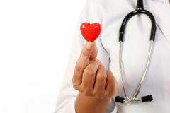 Female doctor holding a red heart shape. Female doctor holding a beautiful red heart shape royalty free stock photography