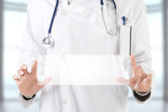 Female Doctor Holding Sign Stock Photography