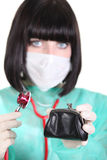 Female doctor holding wallet Stock Images