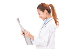 Female doctor holding x-ray picture Royalty Free Stock Photos