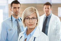 Female doctor on hospital corridor Stock Image