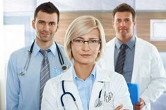 Female doctor on hospital corridor Stock Photos