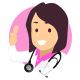 Female Doctor Icon doing Ok Hand Sign. Vector Illustration of Female Doctor Icon doing Ok Hand Sign Royalty Free Stock Images