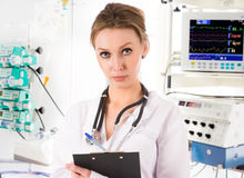 Female doctor in ICU Stock Photo