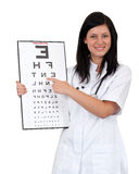 Female doctor keeping optometry chart Royalty Free Stock Photos