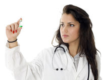 Female doctor keeping vial with green liquid Stock Images
