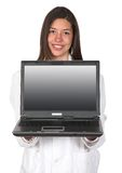 Female doctor with laptop Royalty Free Stock Image